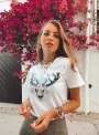 Camiseta InfinittiI búfalo mujer color blanco